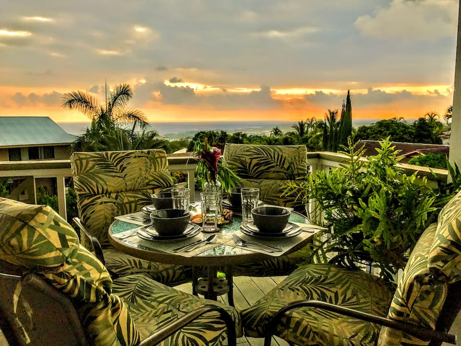 Stunning Kona coast sunset views nightly from the Hale Makamaka lanai.