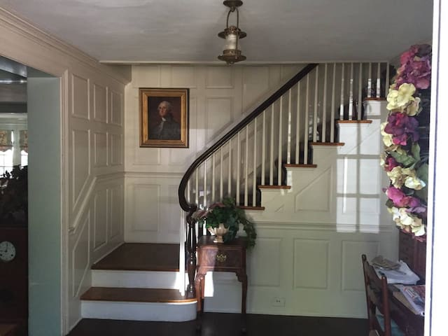 A traditional raised panel room greets you when you enter the front hall of our home.  The house was built in 1927 by the Heminway Family.  We purchased the property from the estate in 1989.