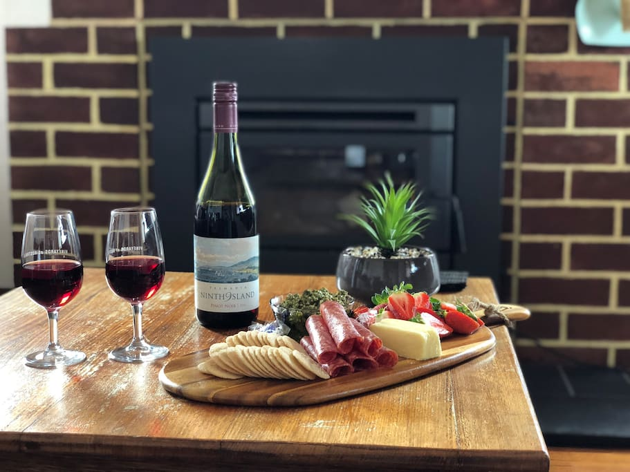 Tassie can be cold in the winter but here you will feel warm and cosy. Relax and enjoy some of your favourite produce as you explore Tasmania (wine and platter not included in price nightly rate)