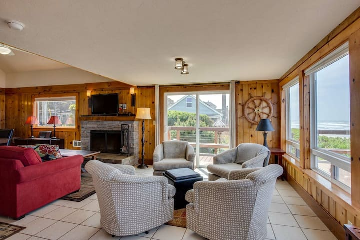 There is plenty of seating in this living room.