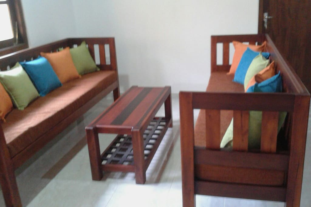 Quality timber furniture throughout apartment