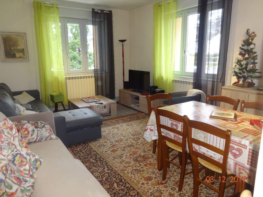 salon avec canapé et grande table pour 8 personnes