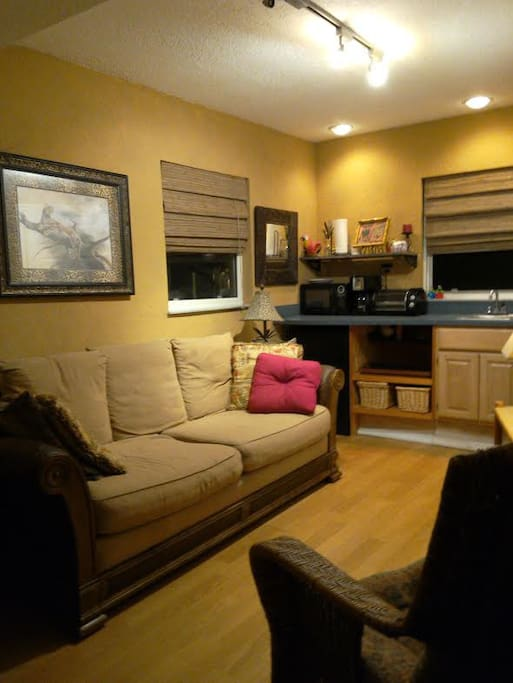 Sitting area couch and kitchenette.