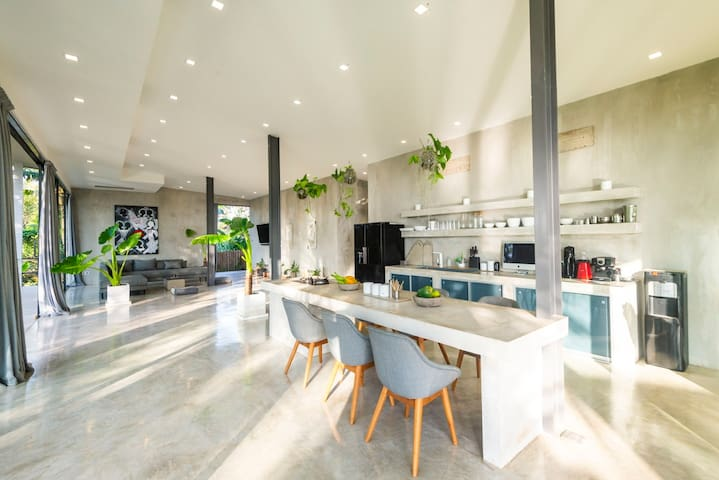 Concrete stylish kitchen and living room.