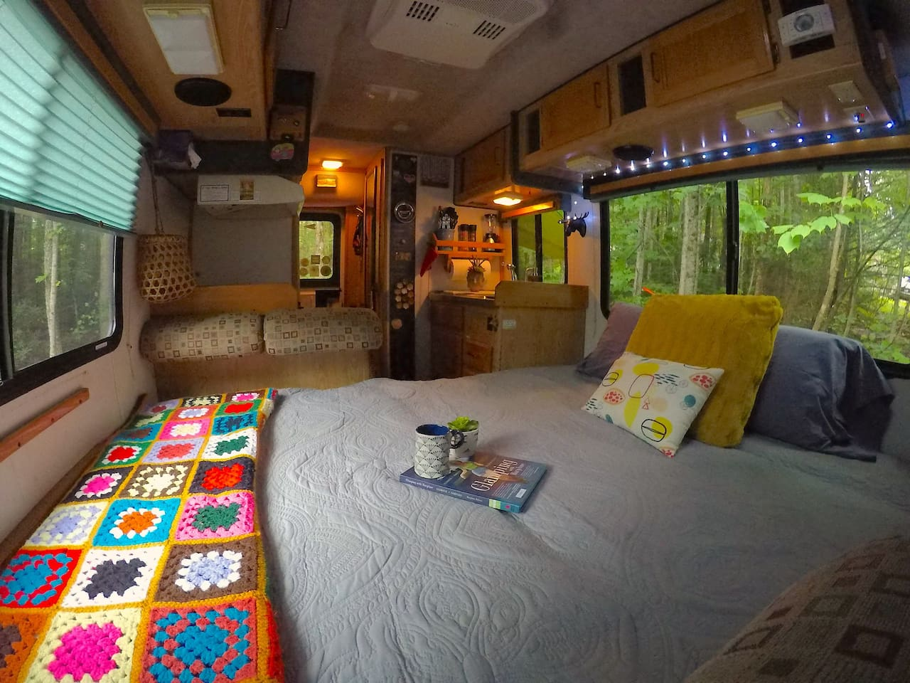 Overview from front to back with King Bed layout. (To capture a small space we used a GoPro wide angle lens on some, but not all,  of the photos - space may appear a little larger than actual in those pics, but they give the best comprehensive views)