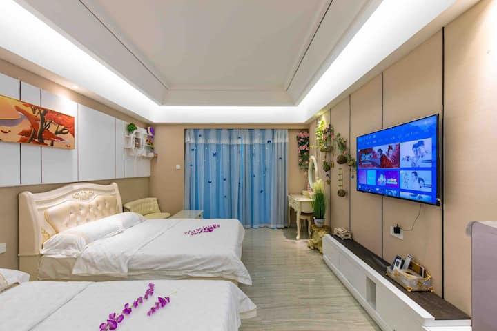 汕头南澳岛青澳湾香湖湾北回归线广场躺在床上看海温馨海景双床房大床房+分海景民宿公寓