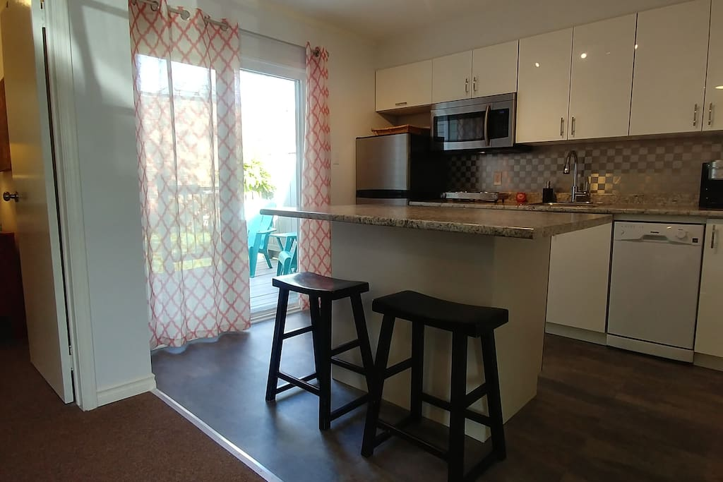 Kitchen with Island that serves as a dining table.  Four bar stools available.