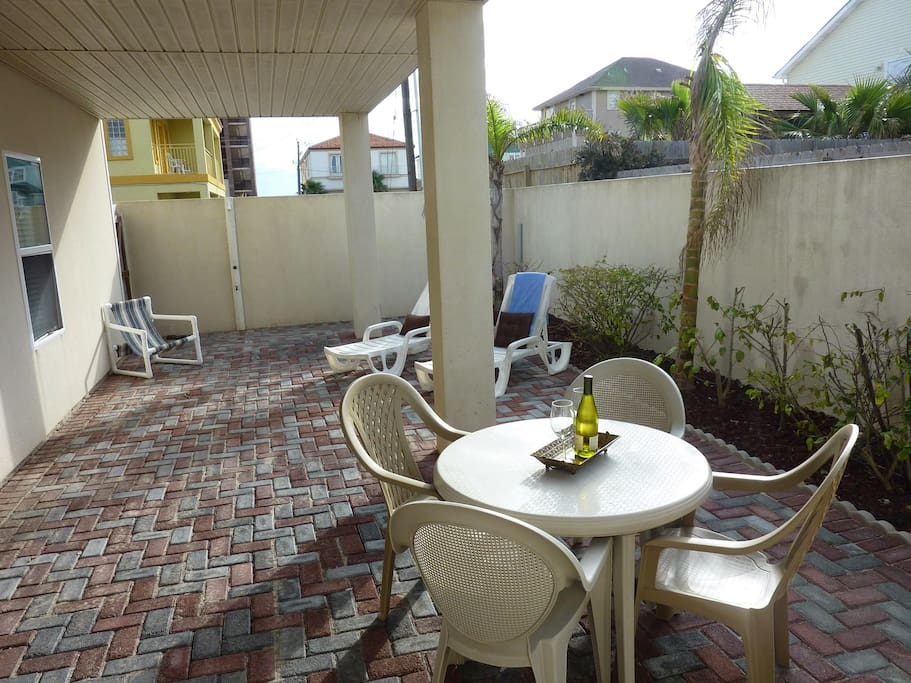 Private oversize covered patio with ample seating