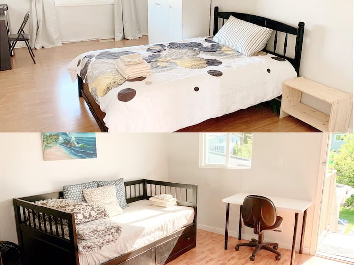 Double rooms with washroom(shared kitchen)