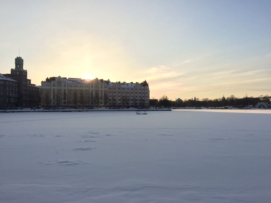 Enjoy a wintery sunset walk on the sea in front of our house.