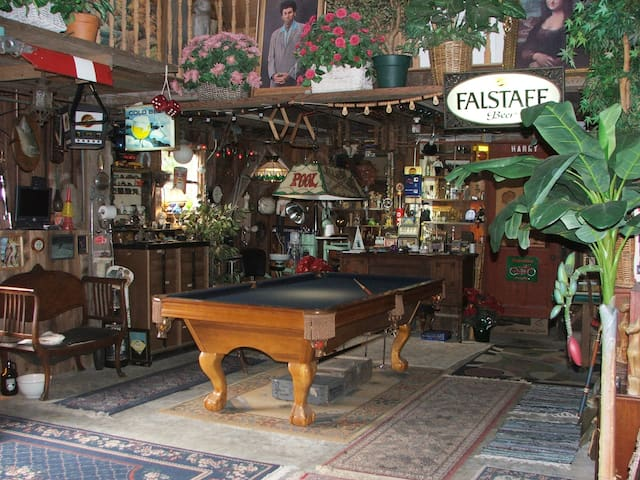 Game Room (Pool, Foosball, Darts, Cards + more) stuffed with curious items to explore!