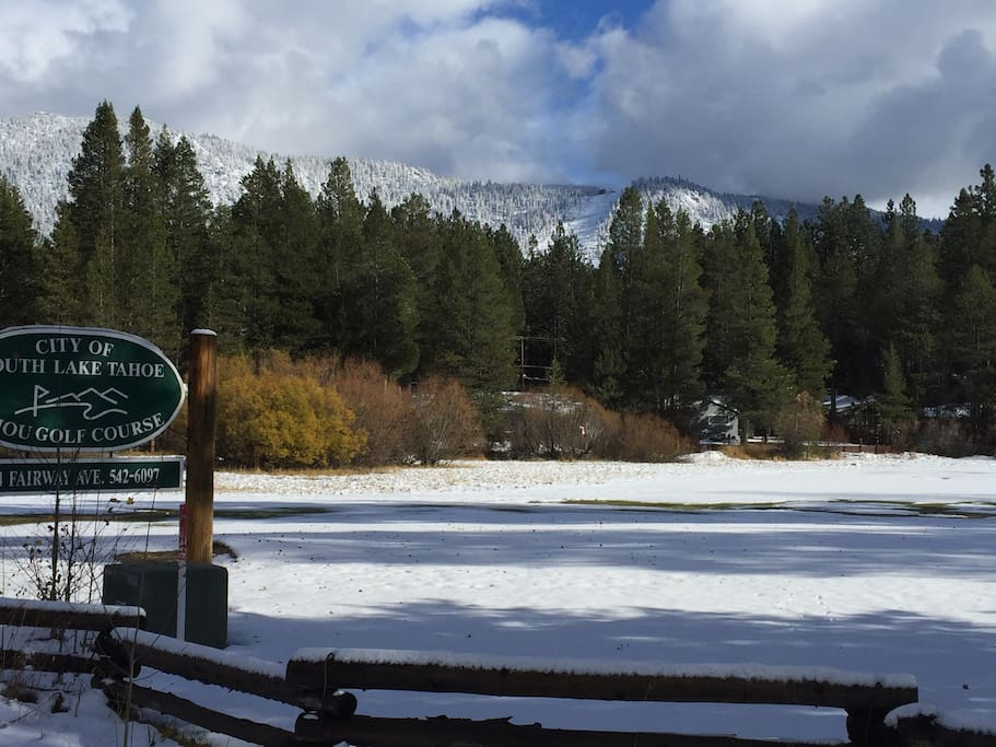 Golf Course across the street for snowshoeing and cross country skiing with a great view of Heavenly Valley ski resort