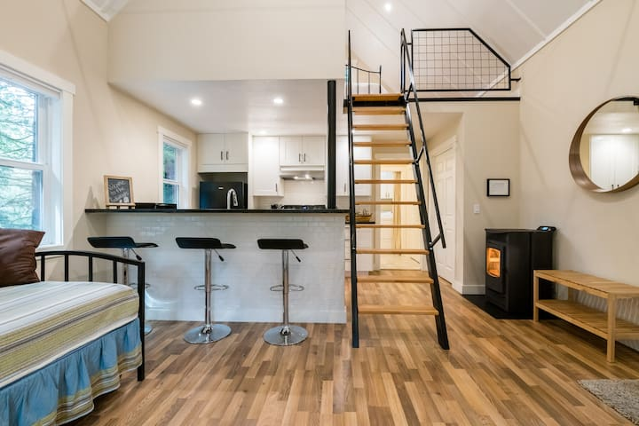 Great room with high ceilings and shipsladder to the loft.