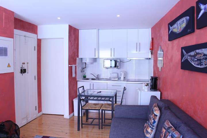 A sala de estar e a kitchenette.