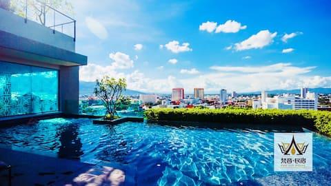 Astra Luxury View Super Soverom B4 @ Ved siden av Shangri-La Hotel @ Nær Old City Night Bazaar @ High-end latexpute @ Privat reise tilpasset