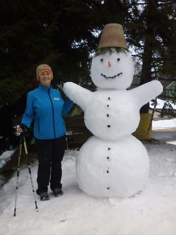 Postavit si sněhuláka, udělá radost