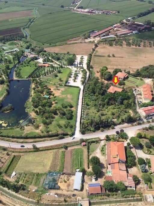 """La villa è situata all' interno di un ampio, tranquillo e verde giardino. Vicino al famoso ristorante """"Le Trabe"""""""