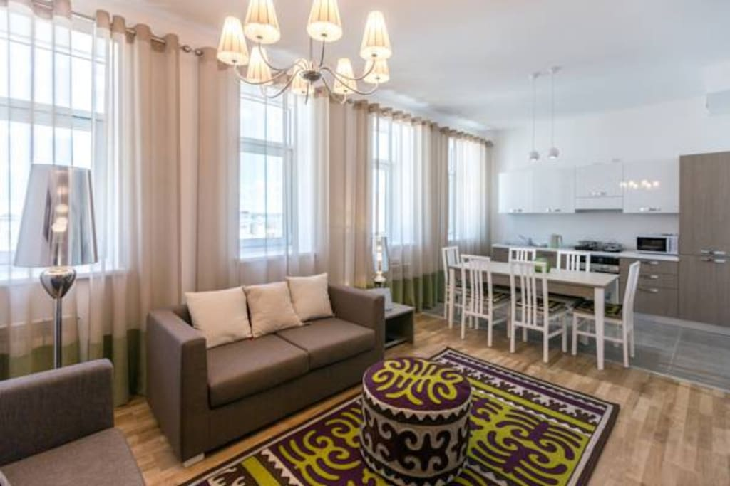 Furniture and utensils from Italy, high-quality household appliances, a quiet courtyard, a beautiful house and a grand palace, will meet you with warmth and with Kazakh hospitality