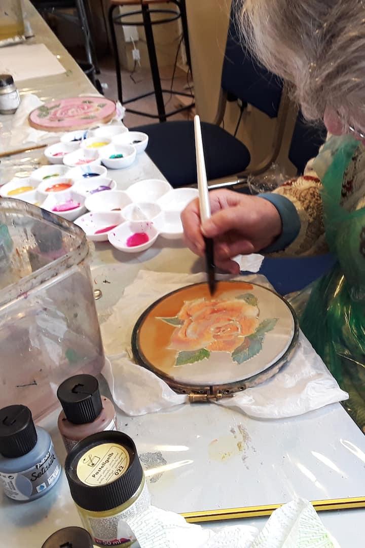 Creating using metallic paints on silk