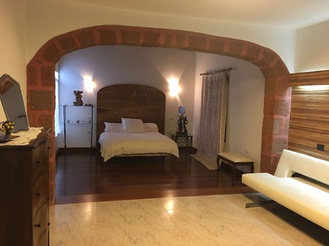 Large master bedroom, with wooden ceiling and floor, large dressing room.