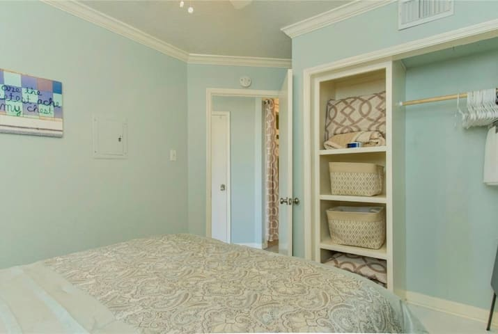 Master Bedroom closet space to give you a great space to unpack on your arrival