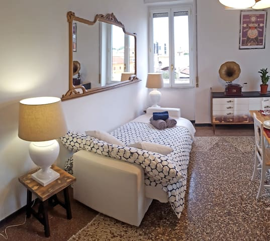Room #3 with 120x190cm bed, big table, sofa and balcony with view