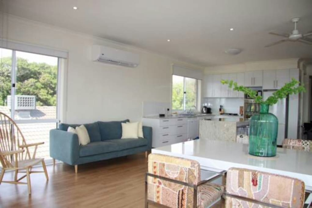 Upstairs kitchen + dining/living area Nespresso/Netflix/Balcony with gas BBQ
