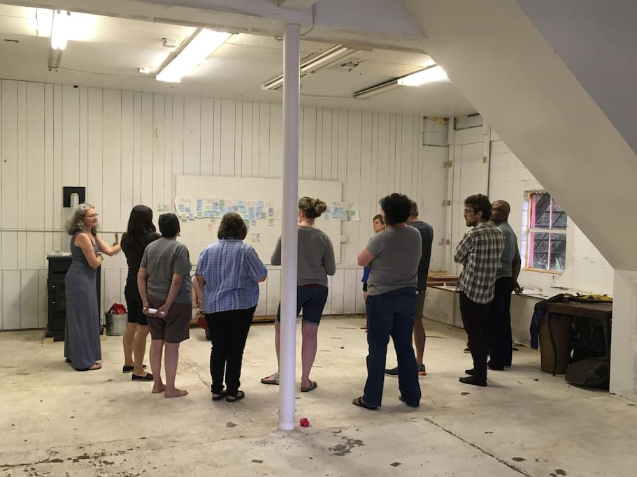 Host your team building retreats in the firehouse studio or use it for your maker space needs or arts performances...