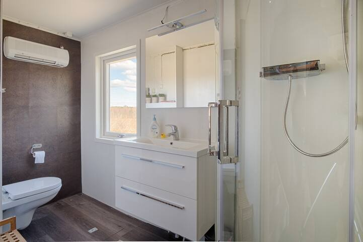 Bathroom downstairs (2019 build) with shower and toilet.