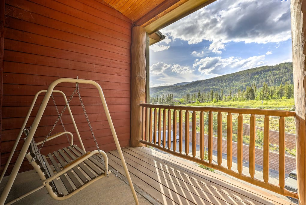 From the balcony, you'll have unrivaled views of the mountains.