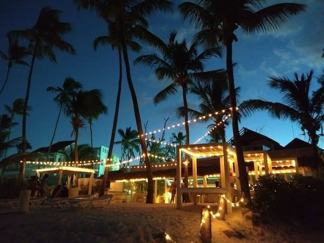 Lio beach restaurant bar on the beach at the end of my street