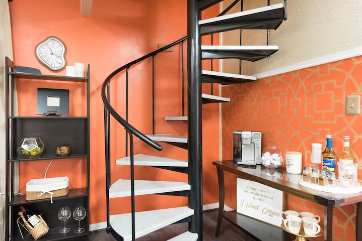 Stairs to lofted bedroom