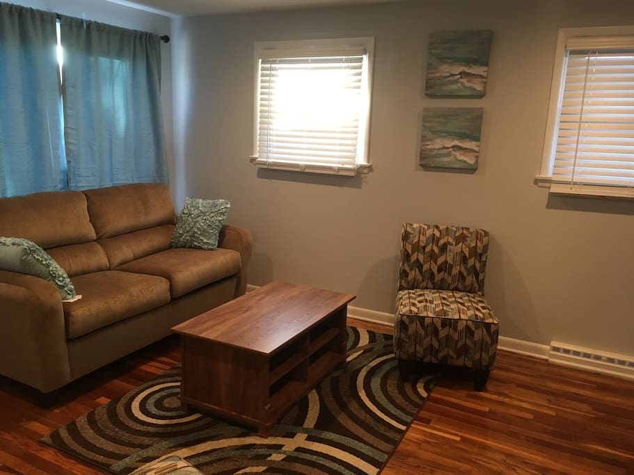 Beautiful large living room with hardwood floors, pull out couch and 42 inch TV.