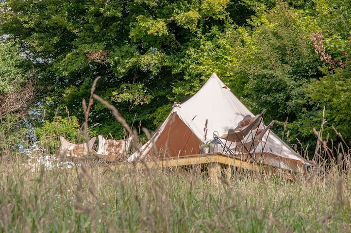 Rustic bell tent stays for Groups - private field