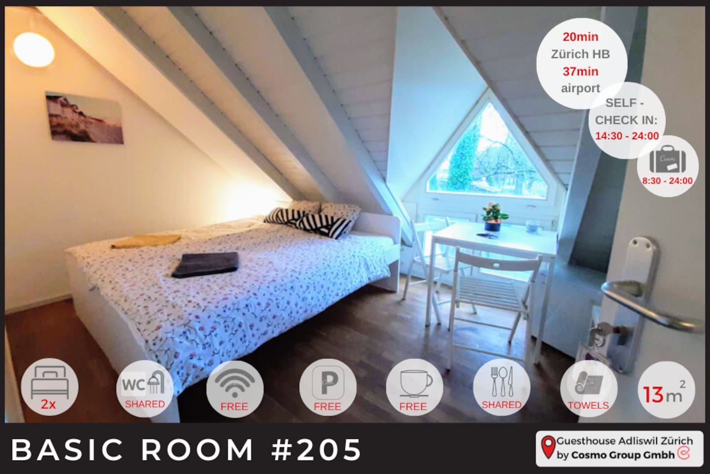 One of our Attic rooms. Room 205. Now, room 205 is on 2 floors.   If you are not into walking the stairs it will not be your perfect match. But it's a lovely room with nice natural light.  Perfect match for guest that are planning to stay 2- 4 nights