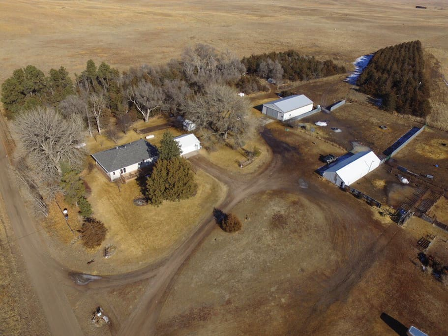 Winter drone photo of our place