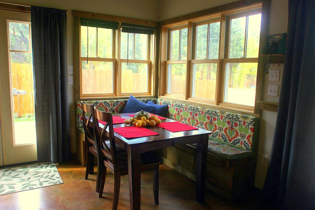 The dining nook looks out over a peaceful pasture scene - often complete with wildlife.