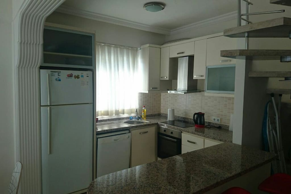 Kitchen with bar table