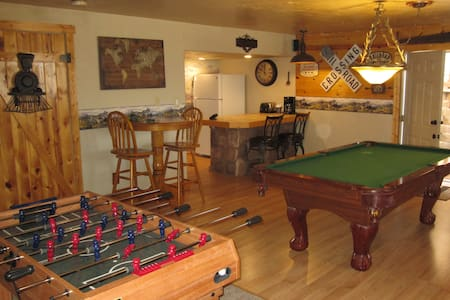 Old West themed finished walkout basement