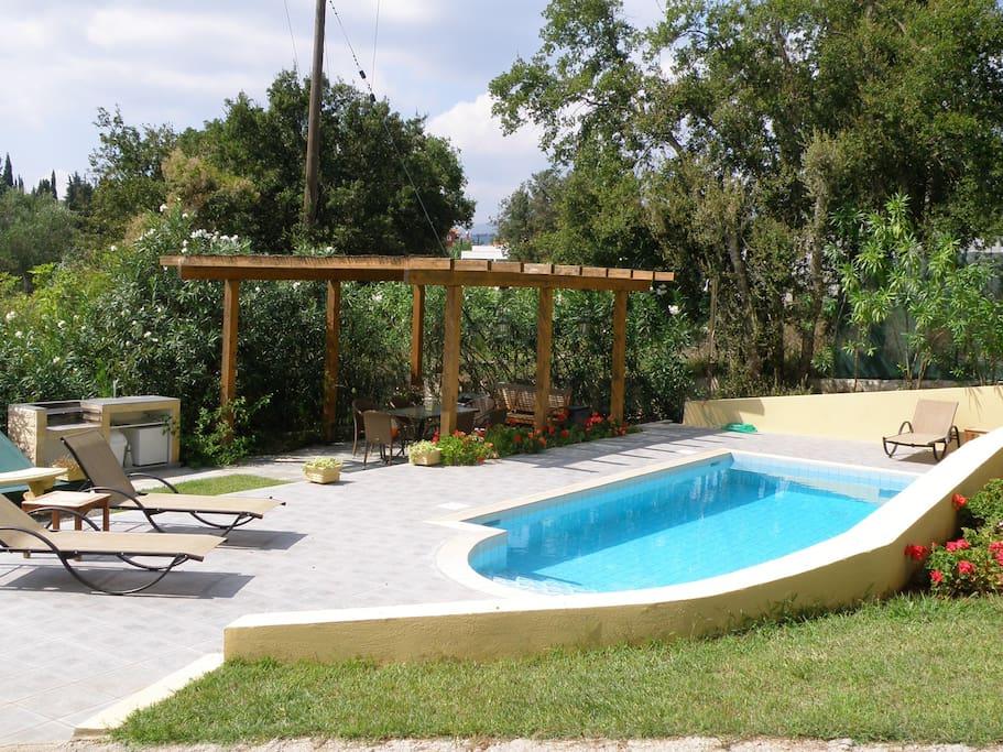 Pool, pergola & bbq area
