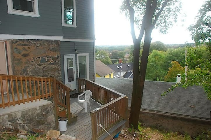 Private Entrance with sitting area and a long view west. Perfect for sunsets.