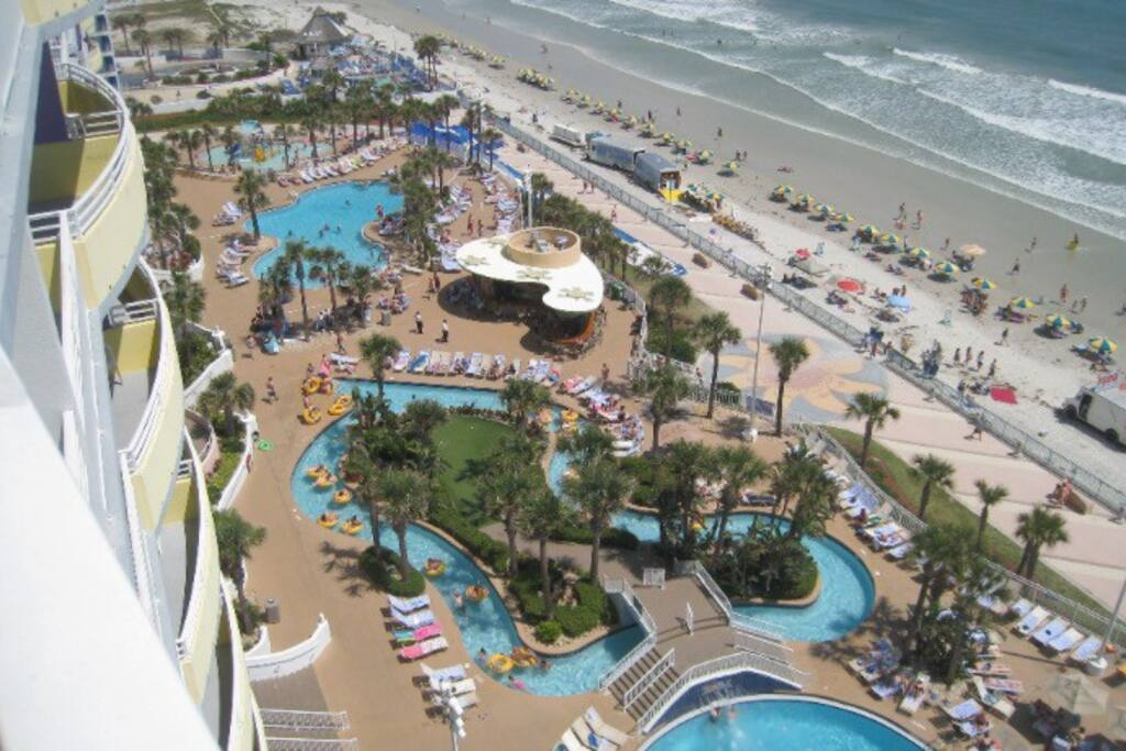 This resort is located right on the beach. There are 3 pools including one inside, a lazy river, one large waterslide, and one small waterslide for little kids in their own splash zone, it also includes indoor mini golf.