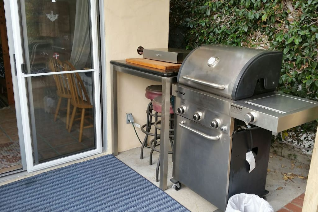 Cooking area (grill and 2 burner electric stove).