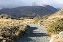 Hiking over the hills near Capel Curig in January