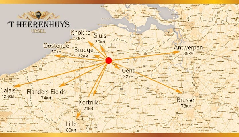 B&B 'T HEERENHUYS - between Ghent and Bruges