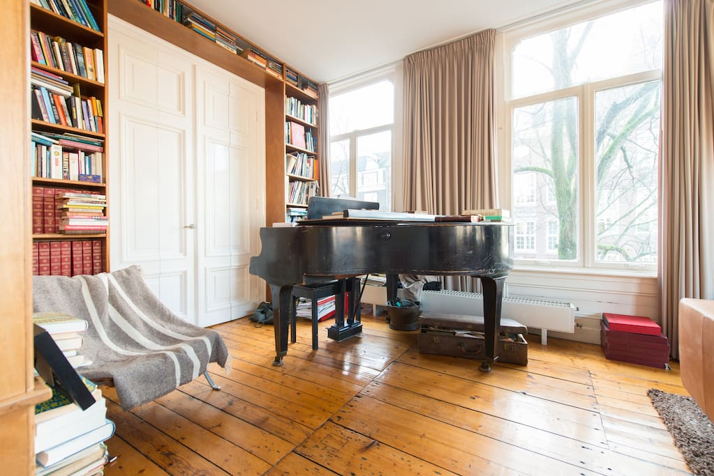 living room, piano, library