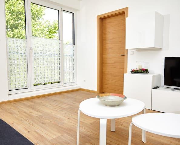 Krug-Apartments (Ebelsbach), Apartment 3 mit großen Fenstern und viel Licht