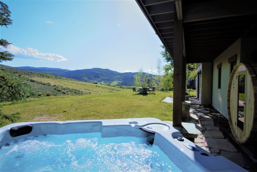 The private hot tub offers some of the best views to be found in the mountains!