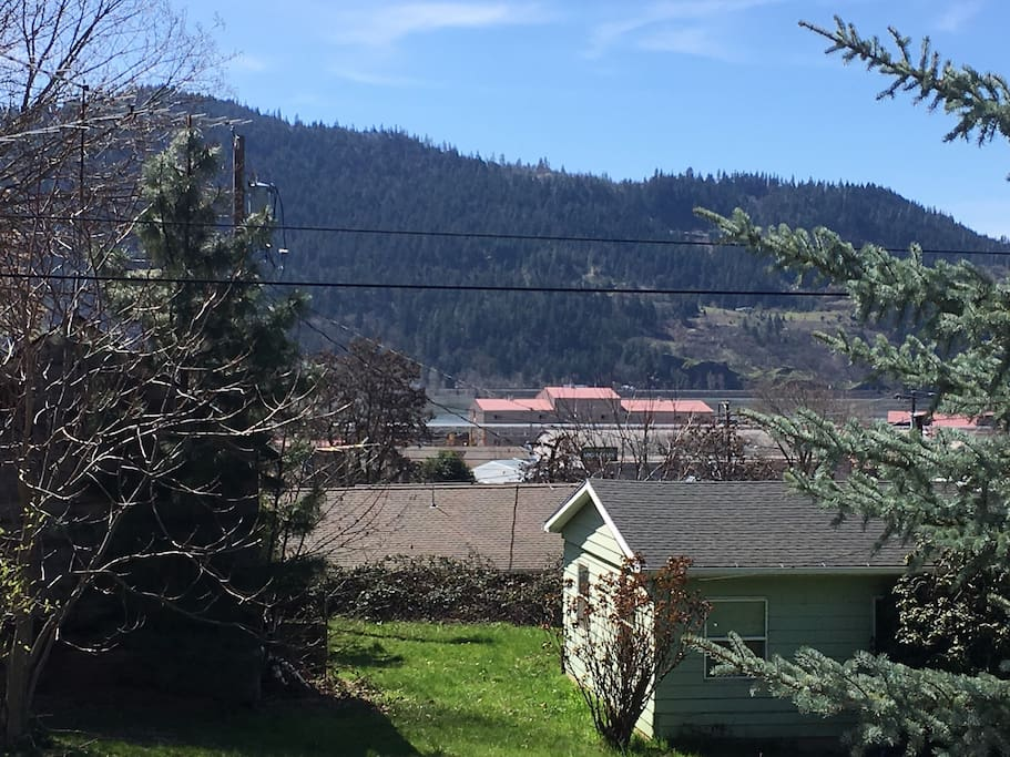 Slight view of Columbia River from from yard
