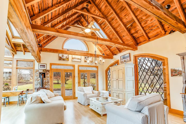 Beautiful, rustic home w/ on-site playground, deck, patio, grill, and fireplace